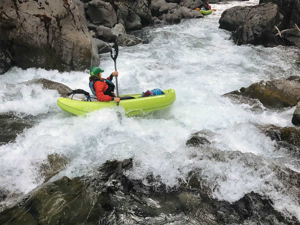 Kayaking Boulder Drop Rapid on the Chetco River
