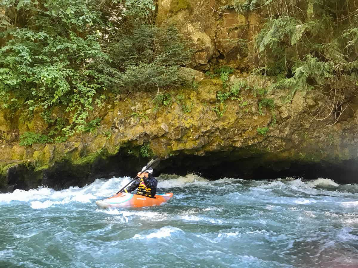 Kayaking left of The Cave on the White Salmon River