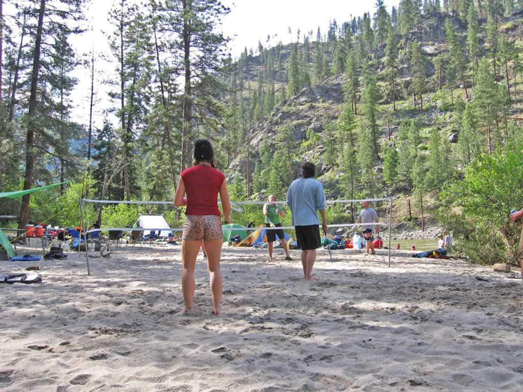 Most camps on the Salmon River have big, sandy beaches