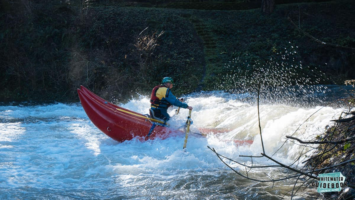 Val Shaul surfing the Little North Fork of the Washougal River